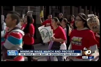 Fast-Food Strike Downtown San Diego (December 4, 2014) KGTV TV 5pm
