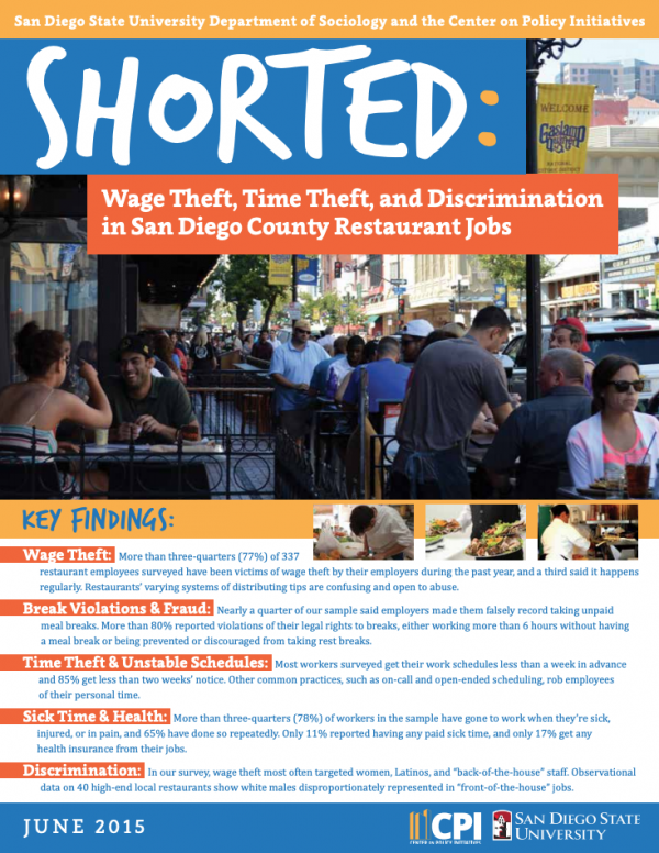 Shorted: Wage Theft, Time Theft, and Discrimination in San Diego's Restaurant Industry (2015)