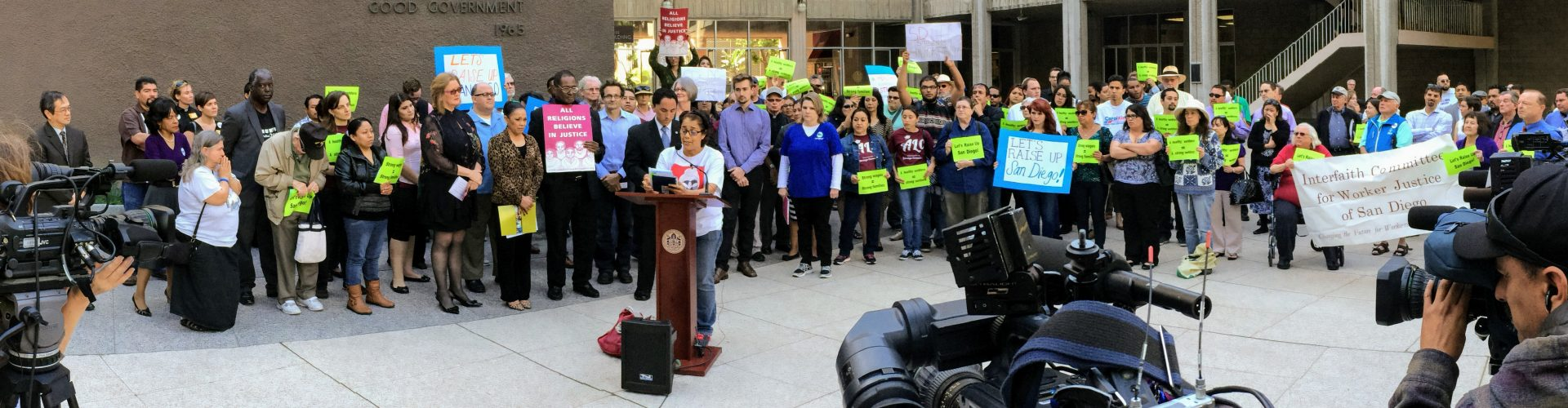 San Diego residents and leaders hold a press conference at City Hall to increase minimum wage
