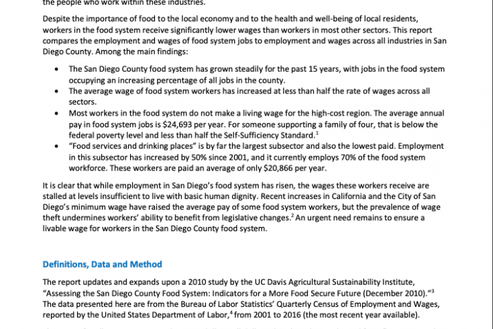 Employment and Wages in the San Diego County Food System (2017)