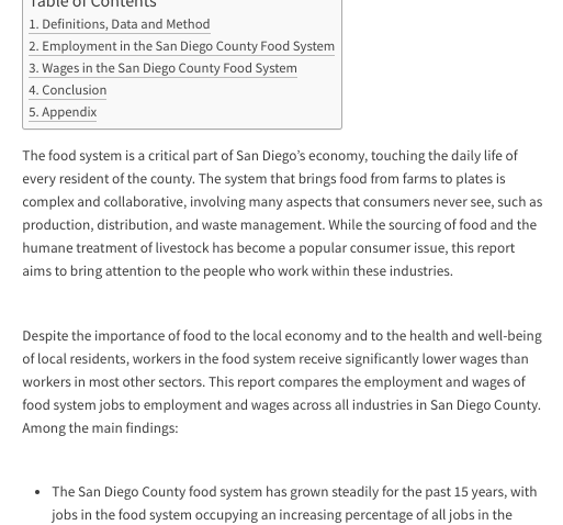 Web report: Employment and Wages in the San Diego County Food System (2017)