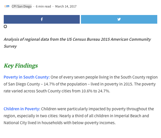 Web report: Poverty and Income in South County San Diego (2017)